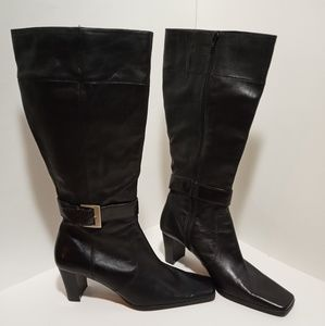 Nine & Co.- Black Square Toed Knee High Boots